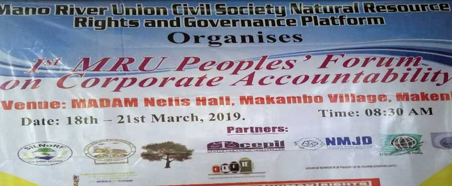 Information banner from the Peoples' Forum in March of 2019