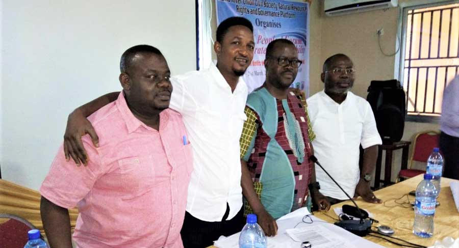 Kumi Larbi (Ghana), Daniel Fofanah (Sierra Leone), Chima Williams (Nigeria), and Michel Yoboué (Cote d'Ivoire) pictured at the People's Forum of 2019